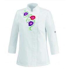 Dámsky kuchársky rondon White Flowers, s výšivkou - Egochef