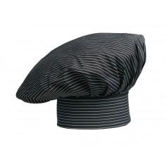 Kuchárska čiapka Sir, čierna s bielym prúžkom - Egochef