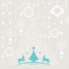 Vianočné servítky Stella (Airlaid), 40x40cm, strieborno tyrkysové, Mank