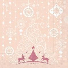 Vianočné servítky Stella (papier), 40x40cm, aprikot, Mank