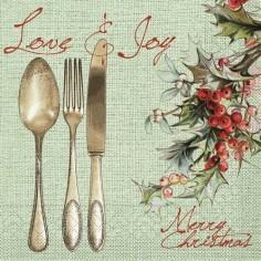 Vianočné servítky Love & Joy 33x33cm, papierové - Mank