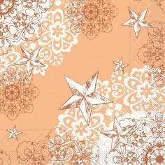 Vianočné servítky, papierové, 40x40cm, aprikot-terakota, Mank
