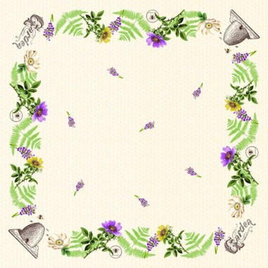 Obrus z netkanej textílie Bee-Keeping, 80x80cm, včelársky motív, Mank