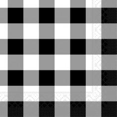 Servítky papierové Karo, 25x25cm, čierne - Mank
