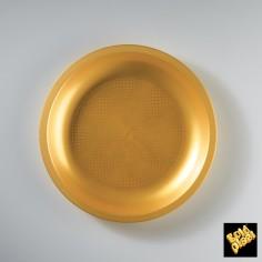 Plastový plytký tanier, okrúhly Ø 220mm zlatý