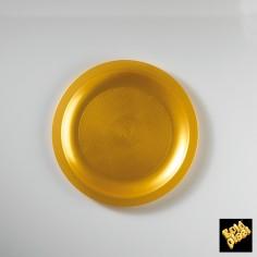Plastový tanier na dezert Ø 185mm zlatý, GoldPlast